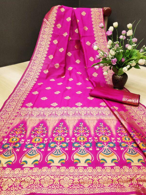 Remarkable Rani Colored Silk With Rich Pallu Designer Saree Online