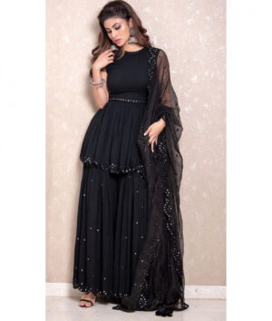 Outstanding Black Georgette With Embroidered Mirror Work Plazo & Kurti
