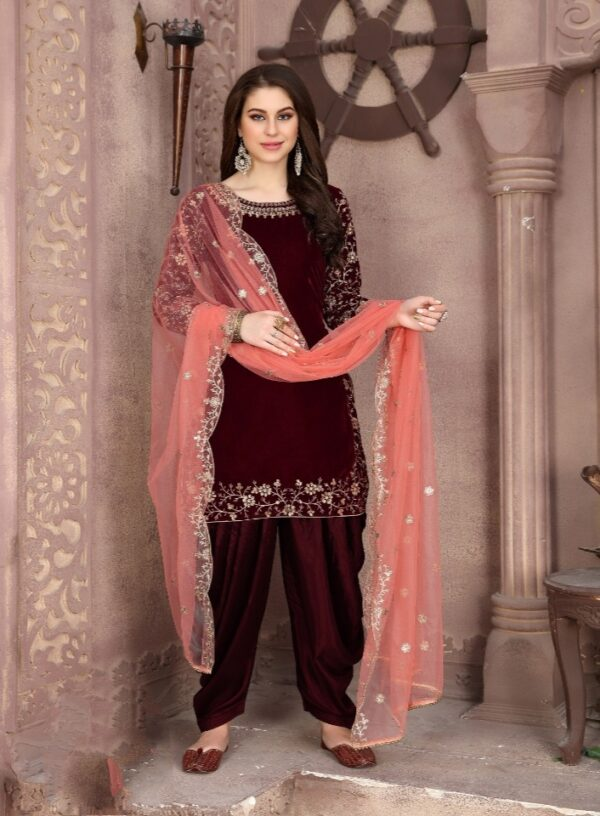 Amazing Maroon Velvet With Embroidered Work Salwar Suit