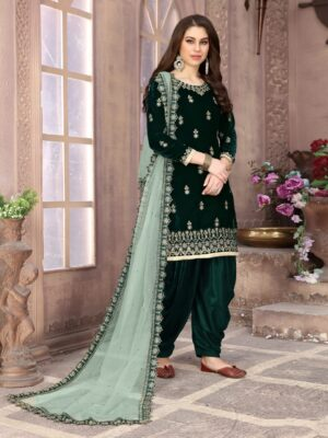 Astonishing Dark Green Designer Velvet With Embroidered Work Salwar Suit