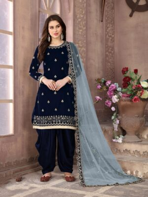 Marvellous Blue Velvet With Embroidered Work Salwar Suit