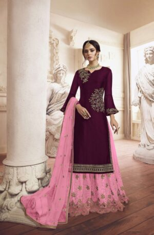 Imposing Dark Pink Rangoli With Embroidered Work Plazo Salwar Suit