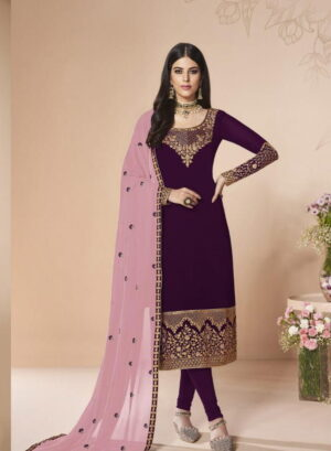 Comely Wine Georgette With Embroidered Work Salwar Suit