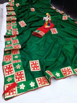Alluring Green Silk With Gotta Patti Work Designer fancy Saree Online