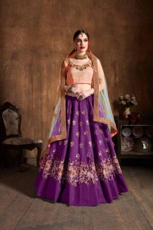 Marvellous Purple Silk With Sequence Thread Embroidered Work Lehenga Choli Design Online