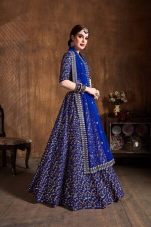 Comely Royal Blue Silk With Zari Sequence Embroidered Work Lehenga Choli Design Online