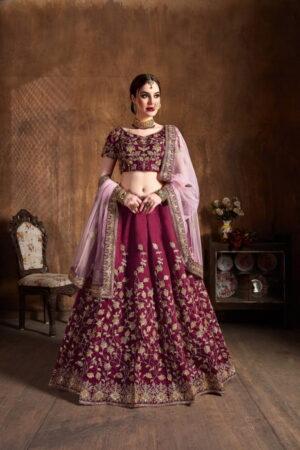 Ravishing Maroon Silk With Dori Embroidered Work Lehenga Choli Design Online