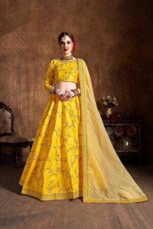 Striking Yellow Silk With Zari Dori Embroidered Work Lehenga Choli Design Online