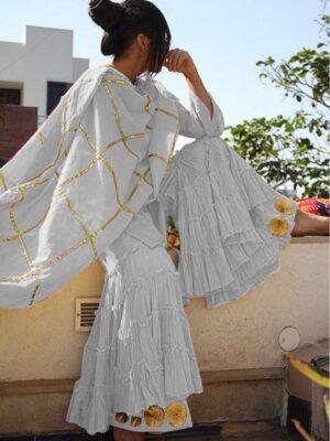 Charming Grey Cotton With Gotta Work Sharara Salwar Suit