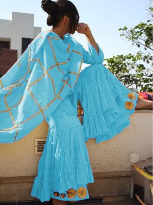 Alluring Sky Blue Cotton With Gotta Work Sharara Salwar Suit