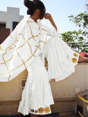 Exquisite White Cotton With Gotta Work Sharara Salwar Suit