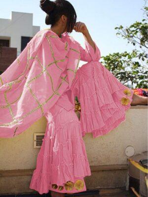 Gorgeous Light Pink Cotton With Gotta Work Sharara Salwar Suit