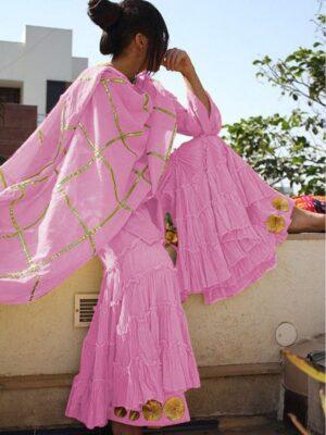 Amazeballs Light Purple Cotton With Gotta Work Sharara Salwar Suit