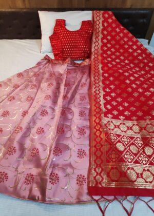 Impressive Red & Pink Banarasi Brocade With Padded Blouse Lehenga Choli Design Online