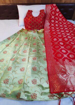 Outstanding Pista Green & Red Banarasi Brocade Padded Blouse Lehenga Choli Design Online