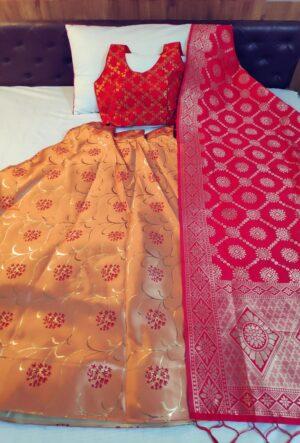 Amazing Red & Orange Banarasi Brocade Wedding Wear Lehenga Choli Design Online