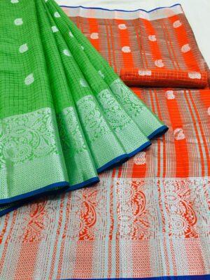 Astonishing Green & Orange Banarasi Silk With Silver Weaving Designer fancy Saree Online