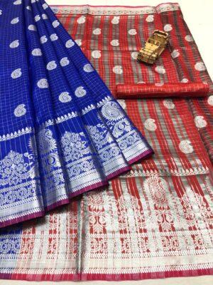 Marvellous Royal Blue & Red Banarasi Silk With Silver Zari Weaving Designer fancy Saree Online