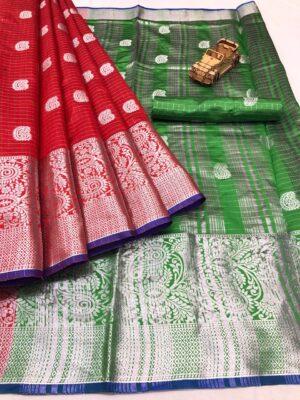 Phenomenal Red & Green Banarasi Silk With Silver Weaving Zari Designer fancy Saree Online