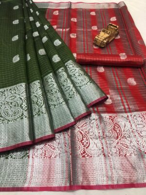 Splendid Mehendi & Red Banarasi Silk With Silver Zari Weaving Designer fancy Saree Online