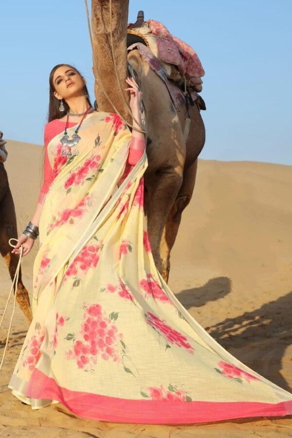Sensational Yellow Pure Linen Cotton Printed Designer Fancy Saree Online