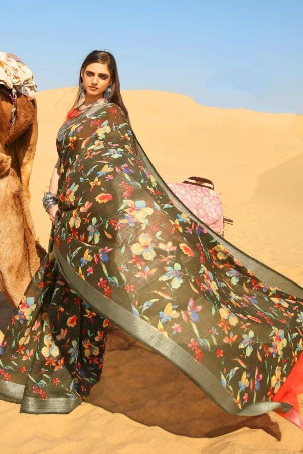 Ravishing Mehendi Green Pure Linen Cotton Printed Designer Fancy Saree Online
