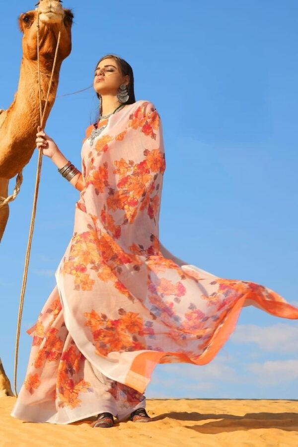 Striking Cream Pure Linen Cotton Printed Designer Fancy Saree Online
