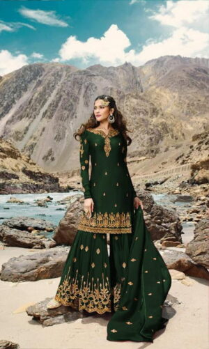 Captivating Dark Green Georgette With Embroidered Work Sharara Salwar suit design online