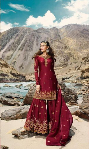 Charming Maroon Georgette With Embroidered Work Sharara Salwar suit design online