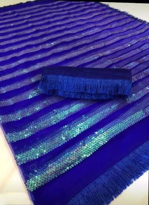 Amazeballs Royal Blue Net With Sequence Work Designer Fancy Saree Online