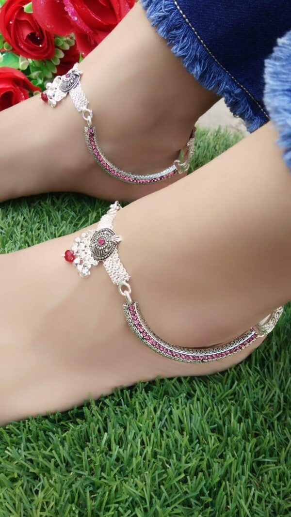 Fabulous Pink American Diamond Silver Colored Anklet Set Online