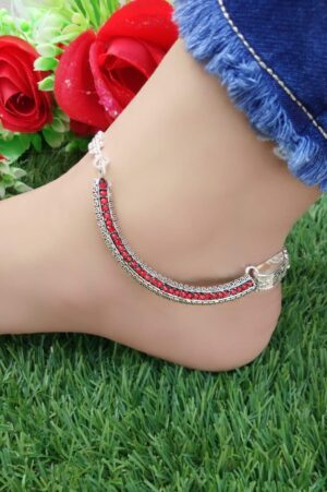 Comely Red American Diamond Silver Imitation Anklet Set Online