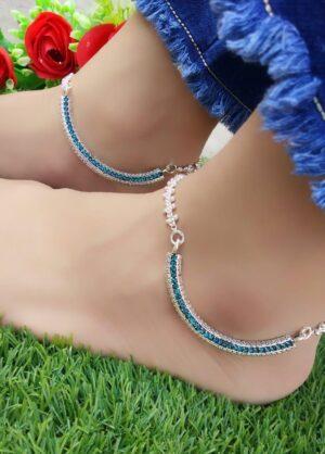 Pretty Silver Imitation Blue American Diamond Anklet Set Online