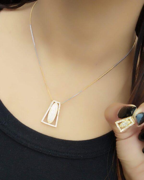 Magnificent White Diamond Golden Imitation Jewellery Set Online
