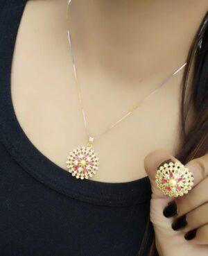 Charming Pink Diamond Golden Artificial Jewellery Set Online
