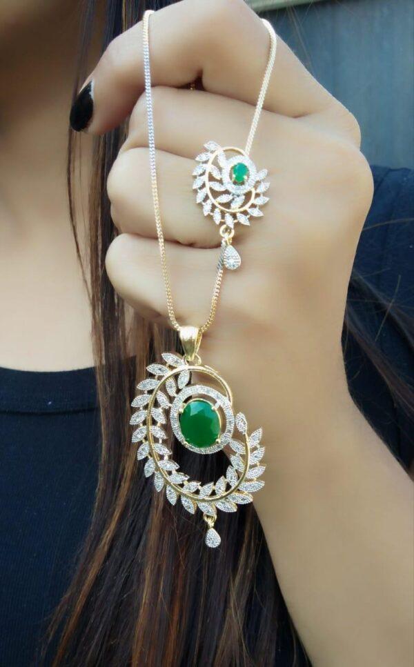 Gorgeous Green Diamond Artificial Golden Necklace Set Online