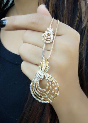 Amazeballs White American Diamond Golden Imitation Necklace Set Online