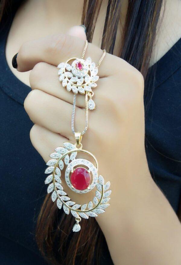 Knockout Red Diamond Golden Artificial Necklace Set Online