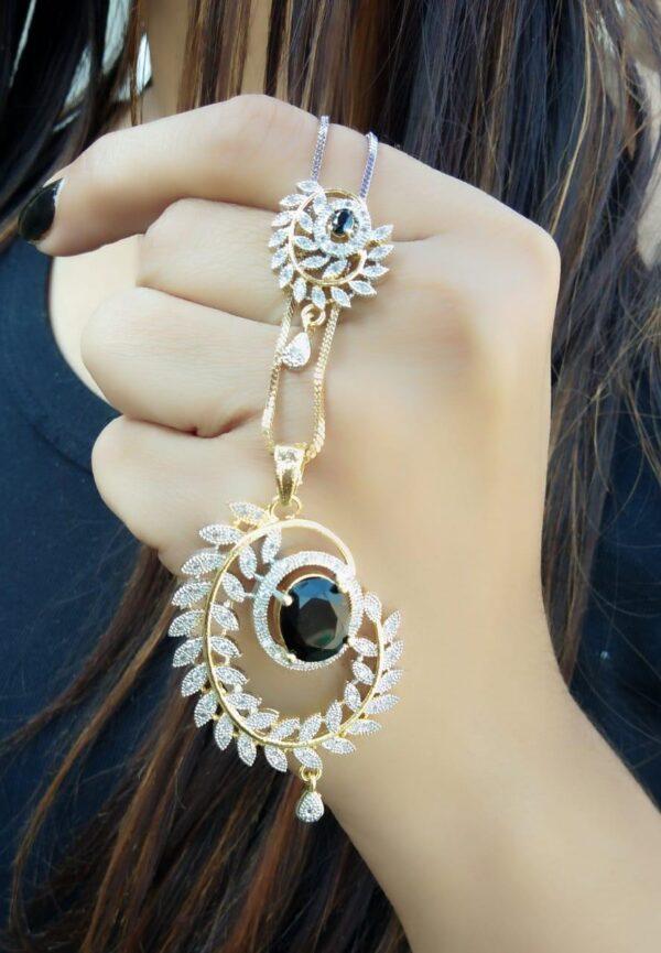 Smashing Black American Diamond Imitation Necklace Set Online