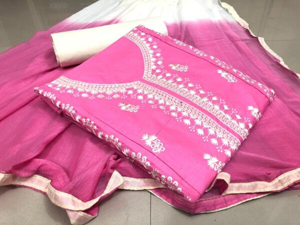 Beauteous Pink Cotton With Embroidered Work Salwar suit design online