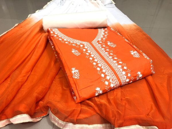 Pulchritudinous Orange Cotton With Embroidered Work Salwar suit design online
