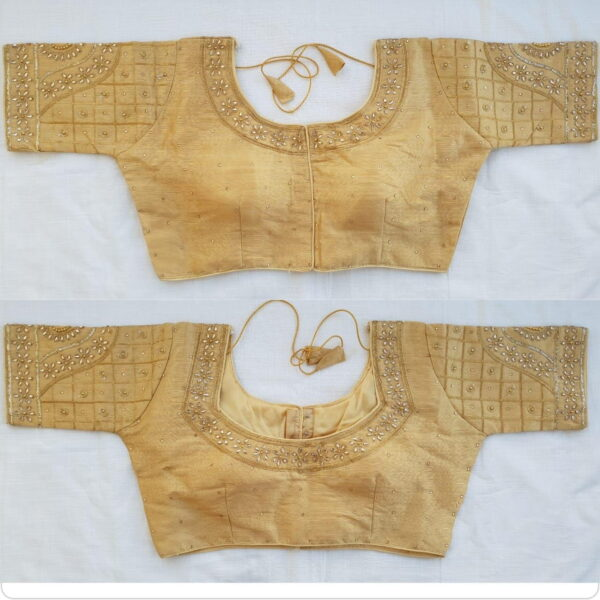 Impressive Golden Stone Embroidered Thread Zari Work Readymade Fancy Blouse