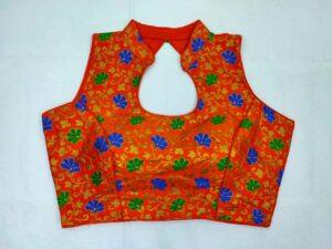 Amazeballs Orange & Multi Meena Jacquard Readymade Fancy Blouse
