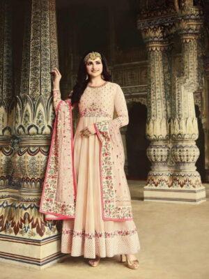 Wonderful Cream Silk With Diamond Embroidered Work New Salwar suit Design Online