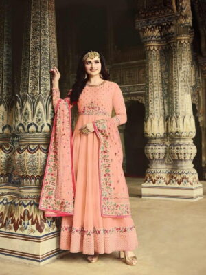 Glorious Peach Silk With Diamond Embroidered Work New Salwar suit Design Online