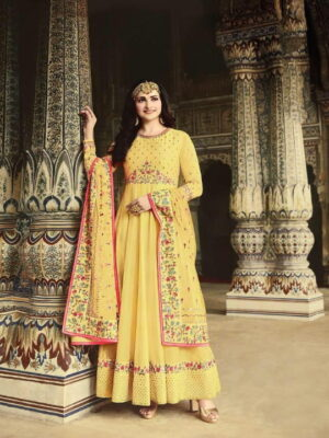 Captivating Yellow Silk With Embroidered Diamond Work New Salwar suit Design Online