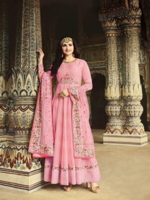 Bewitching Pink Silk With Embroidered Diamond Work New Salwar suit Design Online