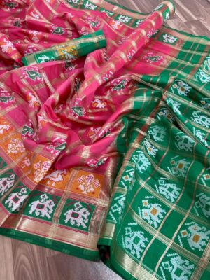 Breathtaking Pink & Dark Green Banarasi Patola With Zari Rich Pallu Designer Fancy Saree Online