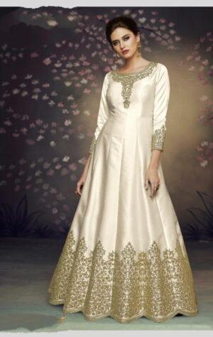Striking Off White Silk With Embroidered Thread Work Anarkali New Salwar suit Design Online