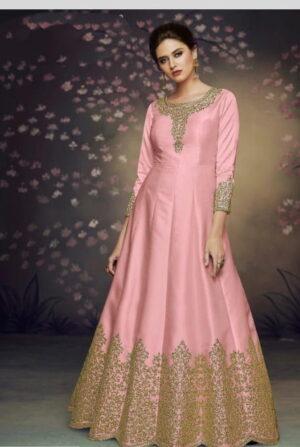 Dazzling Pink Silk With Thread Embroidered Work Anarkali New Salwar suit Design Online